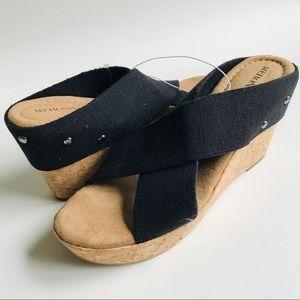 NWT MERONA Black Cork Wedge Sandal